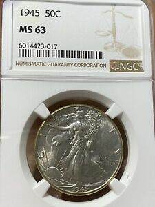 1945 Walking Liberty Half Dollar NGC MS63