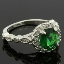 Emerald Ring 18k Fine Jewelry Brass with 3x 14k Gold