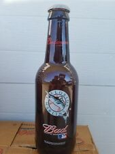 "HUGE Budweiser MIAMI MARLINS 15"" Tall Glass Beer Bottle King Pitcher  RARE MLB"