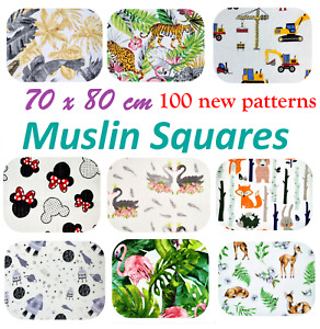 ✅LARGE COTTON BABY MUSLIN SQUARES CLOTHS REUSABLE NAPPY COMFORTER BABY SHOWER