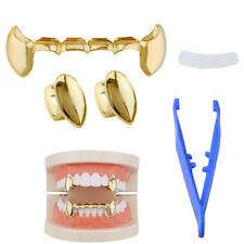 2X Gold Vampire Dracula Teeth Single Fang + bottom Grillz Set Hip Hop USA SELLER