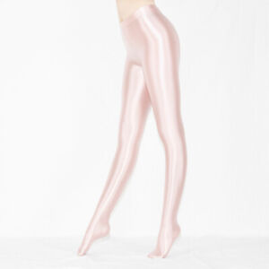 Plus Size Lady Sexy Shiny Wet Look Pantyhose Satin Glossy Opaque Tights Stocking