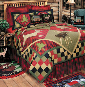 DEER LODGE CABIN Twin QUILT : HAND PIECED BEAR FISH RUSTIC RED BUFFALO PLAID