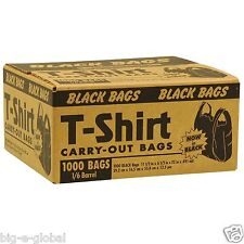 Black T-Shirt Carry Out Plastic Shopping Grocery Bags - 1000 ct. Made In U.S.A