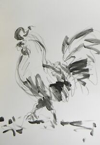 JOSE TRUJILLO ACRYLIC PAINTING ABSTRACT ROOSTER MODERN EXPRESSIONISM ARTWORK COA