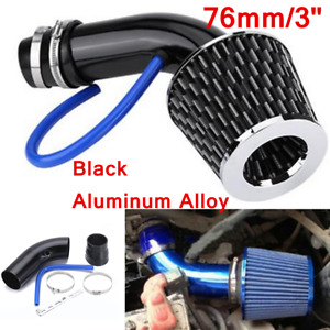 """Black 76mm/3"""" Car SUV Turbo Cold Air Intake System Pipe + Air Filter + Clamp"""