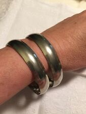 Two VIntage STERLING SILVER signed BEAU SOLID BANGLE BRACELETS 30 Grams Super!