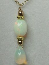 Solid 14k gold Ethiopian Fire Opal pear oval briolette pendant necklace