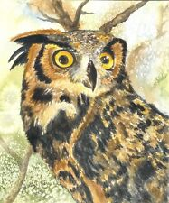 Owl in watercolor painting reproduction print 8x10 on cardstock of original