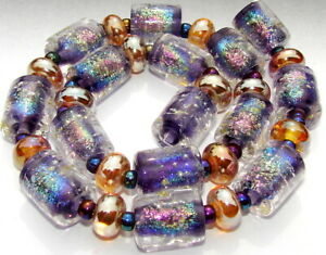 "Sistersbeads ""J-Magenta Rainbow"" Handmade Lampwork Beads"