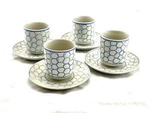 IKEA PRESENT 4 Cups W/ Saucers Saki Green Tea Blue Circles 17335 Vintage