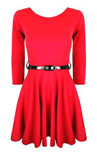 Girls Plain Retro Skater Dress Long Sleev With Belt Age Size 7 9 11 13 Years Red 9-10 Years