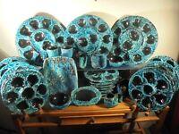 Céramique Vintage 60 Service huitres 29P  Écume Turquoise Cyclope DLG Vallauris