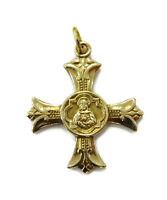 10k Yellow Gold Apostleship of Prayer Cross Charm Necklace Pendant ~ 2.0g