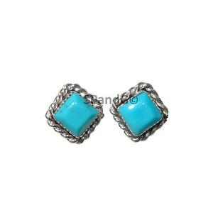 Small Square Turquoise Stud Earrings w/ Twist Wire Border Design Original Zuni