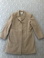 LL BEAN wool Cashmere Blend Trench Jacket Pea Coat Size 14 Tan Warm Winter Fall