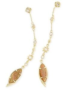 Kendra Scott Lane Shoulder Earrings In Gold Plated and Crackle Brown Pearl & CZ