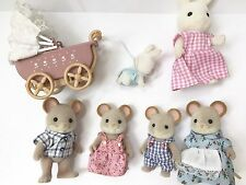 Calico Critters Sylvanian Families NORWOOD MOUSE FAMILY AND Mama Bunny Baby