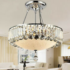 Chandelier Crystal Ceiling Light Glass Modern Shade Chrome Finish Pendant Lamp