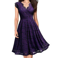 Women Ladies V-Neck Off Shoulder Lace Formal Evening Party Prom Gown Dress CA
