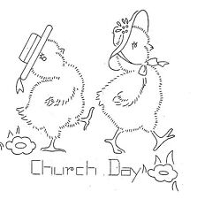 Vintage Embroidery transfer repo 9171 Chicks for Kitchen dish towels Chickens