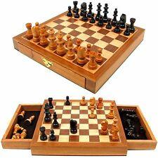 Wood Chess Set Staunton Wood Chessmen With Storage Drawers By Trademark