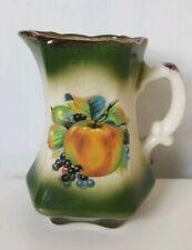 Staffordshire Mayfair English Pottery Milk Jug Green Floral Print Vintage Retro