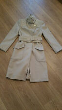 GUCCI BEIGE WOOL BELTED COAT, SUEDE SHOULDERS AND BELT, SIZE 40 ITALIAN