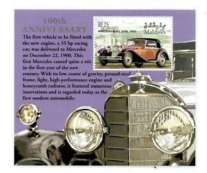 MODERN GEMS - Maldives - Mercedes-Benz 100th Anniversary - Souvenir Sheet - MNH