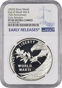 2020 End of World War II 75th Anniversary Silver Medal NGC PF69 ULTRA CAMEO V75