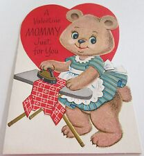 Used Vtg Valentine Card 60s Rust Craft Mommy Bear in Apron Ironing