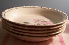 "5 Crooksville China Pink Blossom Soup Bowls 7 7/8"""