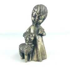 Vintage Pewter Girl Lamb Flowers Figurine Paperweight Signed Ampersand Heavy USA