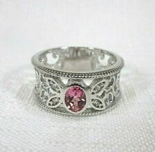 0.51ct Natural Pink Tourmaline & White Topaz Solid Sterling Silver Ring-size (9)