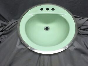 Vtg Cast Iron Jadeite Green Round Drop in Bathroom Sink Old Retro 348-20E