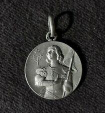 médaille religieuse Jeanne D'arc en argent massif 2cm 3.5gr signée F.Cian