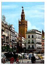 Sevilla Spain Postcard Square San Francisco and La Giralda Plaza 1981 Postmark