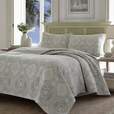 Tommy Bahama TWIN Turtle Cove Medallion Grey 100% Cotton Quilt Set Bedding