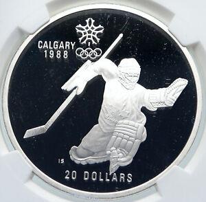 1986 CANADA for 1988 CALGARY OLYMPICS HOCKEY NGC Proof Silver $20 Coin i85794