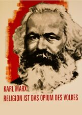 Religion is the opium of the masses. Karl Marx. (German) Propaganda Poster