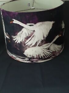 Anthropologie Lampshade, Swan Flight, White Swans On Purple Cloth Background