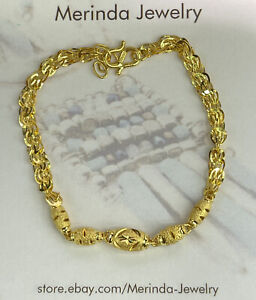 24K Pure Yellow Gold Shiny Beaded Bracelet. 6.75 Inches, 4.03 Grams