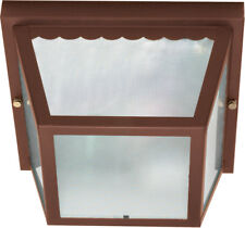 """Nuvo 2 Light 10"""" Carport Flush Mount With Textured Frosted Glass"""