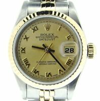 Rolex Datejust Ladies 2Tone 18K Gold & Stainless Steel Watch Roman Dial 69173