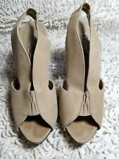 Moda Spana Taupe Leather Strappy Open Toe Slingback Sandals Heels - Size 7M