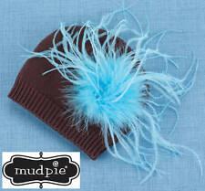 NEW Mud Pie Wild Child Brown Turquoise Ostrich Knit Hat  0-12M - DISCONTINUED