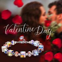 "Silver Bracelet Aurora Borealis Heart Crystals Sterling Silver 7.5"""