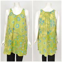 Womens Gudrun Sjoden Viscose Cotton Tank Top Shirt Tunic Green Floral Size S