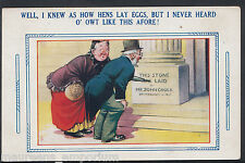 """Comic Postcard - """"Well I Knew As How Hens Lay Eggs, But I Never Heard..  MB1977"""
