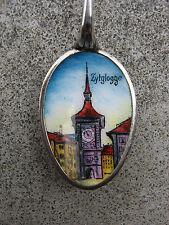 Ancienne belle cuillère souvenir émaillée en argent massif Berne Bern Berna ours